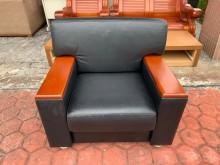 [8成新] 香榭*黑色皮革 單人座辦公沙發單人沙發有輕微破損