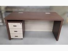 [8成新] 梧桐色主管桌+三抽活動櫃辦公桌有輕微破損
