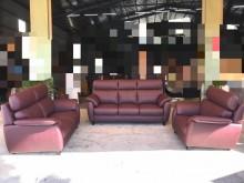 [全新] 新品豬肝紅巴洛克仿牛皮獨立筒沙發多件沙發組全新