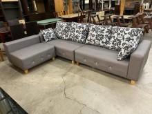 [全新] 新品水鑽淺灰色L型貓抓皮沙發組L型沙發全新