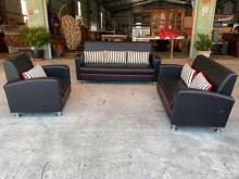 [全新] 全新情人座黑皮3+2+1沙發組多件沙發組全新