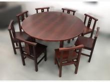 [8成新] 實木5尺餐桌+8椅組餐桌椅組有輕微破損