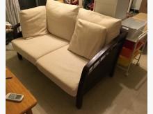 [9成新] 深咖啡實木沙發 表布可拆洗木製沙發無破損有使用痕跡