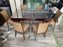 吉田二手傢俱❤實木玻璃餐桌椅組1餐桌椅組無破損有使用痕跡
