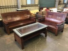 [9成新] 水夠大方3+2實木沙發組(含大茶木製沙發無破損有使用痕跡