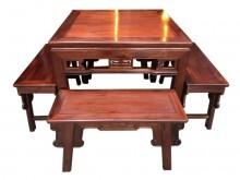 [95成新] 紅木四方桌+4椅茶几近乎全新