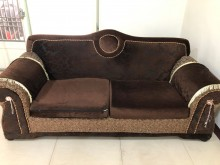 [9成新] 三人座布沙發+抱枕雙人沙發無破損有使用痕跡