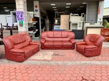 [8成新] 酒紅色荔枝皮1+2+3人座沙發組多件沙發組有輕微破損