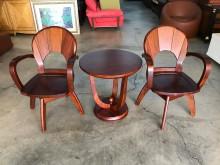[9成新] 花梨木休閒桌椅三件組(椅子可旋轉其它桌椅無破損有使用痕跡
