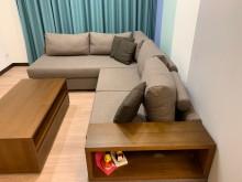 [95成新] 皇齊柚木L型沙發含茶几L型沙發近乎全新