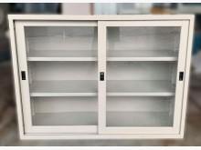 [8成新] C52710*玻璃4尺文件鐵櫃辦公櫥櫃有輕微破損
