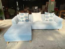[9成新] 藍色L型布沙發(含抱枕)L型沙發無破損有使用痕跡
