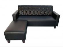 [全新] 全新黑色L型皮沙發L型沙發全新