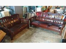 [9成新] 【尚典中古家具】柚木色雅緻3+2木製沙發無破損有使用痕跡