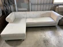 [9成新] 大慶二手家具 水鑽白色L型沙發L型沙發無破損有使用痕跡