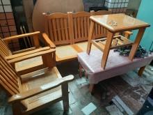 [8成新] 1+1+3+大小茶几(含運)木製沙發有輕微破損