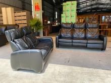 [9成新] 皇齊2+3黑色全牛皮沙發多件沙發組無破損有使用痕跡
