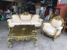 [9成新] 白色法式3+1布沙發+大茶几組多件沙發組無破損有使用痕跡
