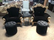 [9成新] 法式單人布沙發含輔助椅+小茶几組單人沙發無破損有使用痕跡