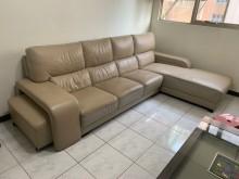[9成新] 保存佳半牛皮L型沙發組L型沙發無破損有使用痕跡