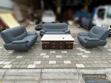 [9成新] 蒼青藍3+2+1貓抓皮沙發多件沙發組無破損有使用痕跡