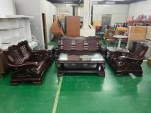 [9成新] 吉田二手傢俱❤實木沙發桌几6件組木製沙發無破損有使用痕跡