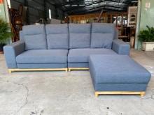 [9成新] 大慶二手家具 藍色L型木框布沙發L型沙發無破損有使用痕跡