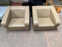 [9成新] 卡其造型全牛皮單人沙發(一對)單人沙發無破損有使用痕跡