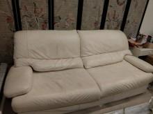 [8成新] 意大利白色真皮沙發 有使用痕跡雙人沙發有輕微破損