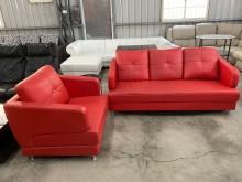 [9成新] 紅色1+3半牛皮沙發組(含抱枕)多件沙發組無破損有使用痕跡