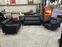 [9成新] 黑色半牛皮1+2+3沙發組多件沙發組無破損有使用痕跡