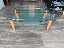 [9成新] 吉田二手傢俱❤簡約橢圓形玻璃茶几茶几無破損有使用痕跡