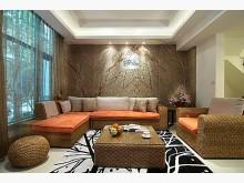 [8成新] 水仙梗橘色布面電動沙發加茶几圓椅籐製沙發有輕微破損