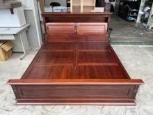 [9成新] 吉田二手傢俱❤樟木雙人實木床架雙人床架無破損有使用痕跡