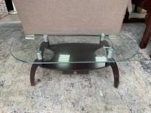 [8成新] 香榭*胡桃腳4尺 橢圓玻璃茶几桌茶几有輕微破損