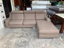 [9成新] 亞麻棕棉布8.3尺 L型沙發椅L型沙發無破損有使用痕跡
