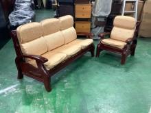 [9成新] 胡桃實木沙發(含布墊)*木製沙發木製沙發無破損有使用痕跡