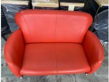 [9成新] (二手)紅皮雙人小沙發雙人沙發無破損有使用痕跡