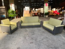 [全新] 夏天蘋果綠配灰色貓抓皮3+2+1多件沙發組全新