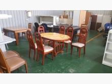 [8成新] 合運二手傢俱實木大理石餐桌+6椅餐桌椅組有輕微破損