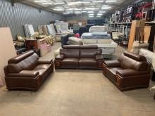 [9成新] 咖紅色1+2+3半牛皮沙發多件沙發組無破損有使用痕跡