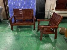 [9成新] 1+2胡桃實木沙發*木製沙發*木製沙發無破損有使用痕跡