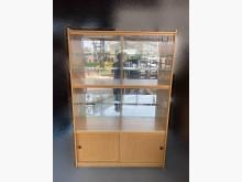 [8成新] B90801*木色玻璃書櫃書櫃/書架有輕微破損