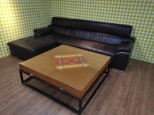 [8成新] 超值雙收納L型半牛皮沙發(不含茶L型沙發有輕微破損