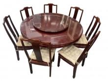 [9成新] A92706* 紅木餐桌+7椅*餐桌椅組無破損有使用痕跡