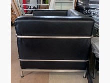 [9成新] (二手)黑皮雙人沙發雙人沙發無破損有使用痕跡
