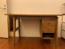 [8成新] 實木書桌+皮椅 桌椅組書桌/椅有輕微破損