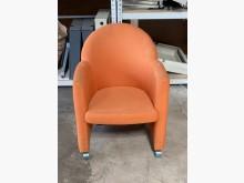[7成新及以下] (二手)橘布單人布沙發-附輪單人沙發有明顯破損