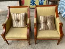 [9成新] 實木綠布單人沙發(一對)單人沙發無破損有使用痕跡