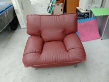 [9成新] 咖啡皮製單人沙發H03110單人沙發無破損有使用痕跡